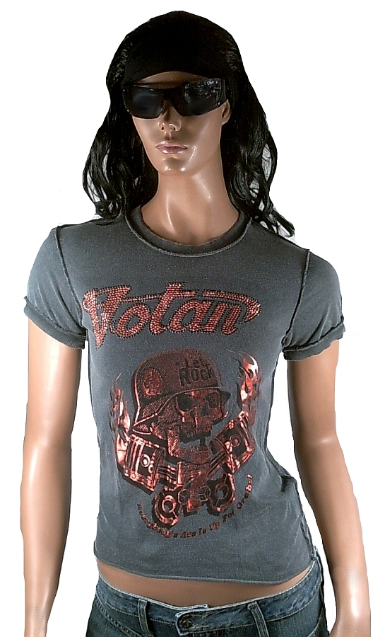 Amplified Votan Strass Let/'s Rock Skull Star ViP Vintage WoW T-Shirt G XL 42