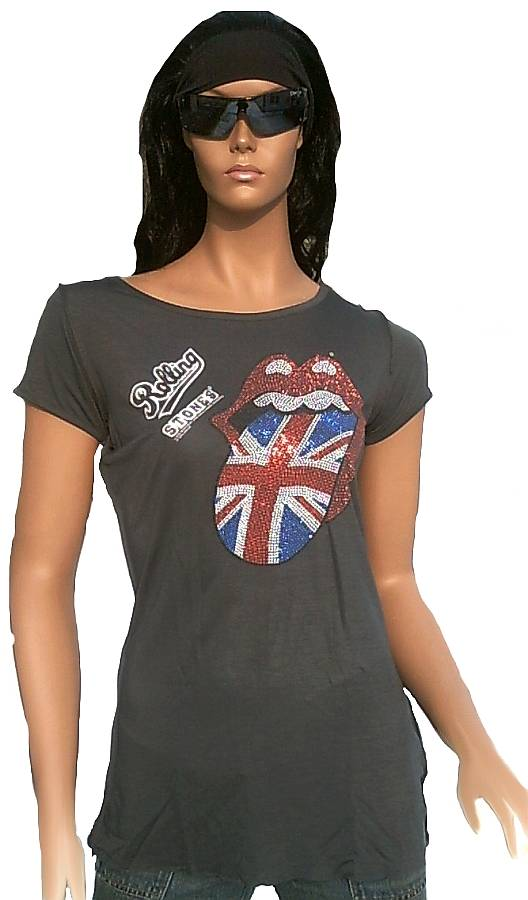 /Girls Rock Band Femme T-Shirt Rolling Stones Angleterre Amplified/ S//–/L