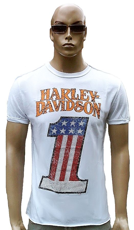 H D CLASSIC Authentic HARLEY DAVIDSON Strass USA Number One Biker T-Shirt XS 34